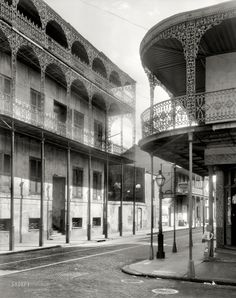 """New Orleans, 1937. """"Le Pretre Mansion, 716 Dauphine Street, built 1835-6. Joseph Saba house. Also called House of the Turk."""" As well as the Sultan's Palace. 8x10 inch acetate negative by Frances Benjamin Johnston"""