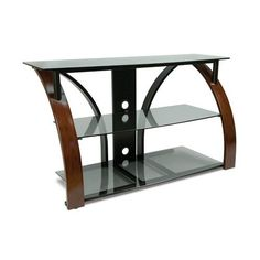 """Bell'O AVSC2141 AV System Hold Up To 46-Inch or 125lbs TV Dark Cherry by Bell'O. $224.99. From the Manufacturer                  This contemporary design features a curved, hand-painted Dark Cherry finish front and a V-shaped black powder-coated, scratch-resistant rear steel frame with gray tinted tempered safety glass. It can accommodate most flat-panel HDTVs up to 46"""" or 125 lbs. and four audio/video components. The open architecture provides superior ventilation and ..."""
