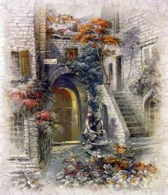 European house Photos Diamond Embroidery full square Diamond Painting Needlework DIY Craft Bedroom Painting Home Decoration Dream Pictures, Beautiful Pictures, Cool Paintings, Watercolor Paintings, Belle Image Nature, Art Et Nature, Pintura Exterior, Art Pages, Anime Comics