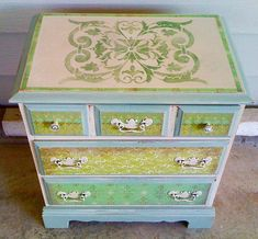 Villa Classic Panel Stencil is used on dresser drawers for a fun wood furniture design