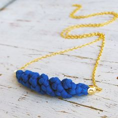 Royal Blue textile pendant with golden chain