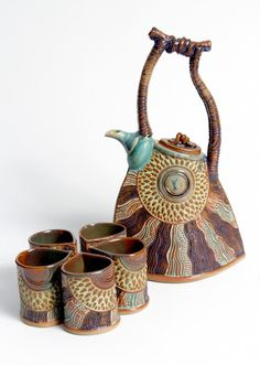 Tea Set With Five Cups Photo:  This Photo was uploaded by potterybyhelene. ...