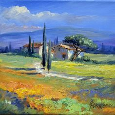 Acrylic Painting Tips, Fabric Painting, Landscape Art, Landscape Paintings, Tuscan Art, Soft Pastel Art, Art Impressions, Beginner Painting, Galaxy Wallpaper