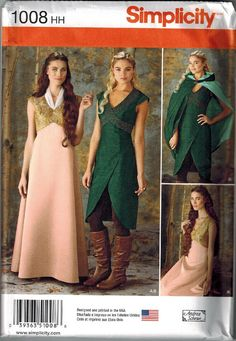 Game of Thrones Inspired Dress Sewing Pattern Simplicity 1008 UNCUT Sizes 14-16-18-20-22 Gown Daenerys Blue Cersei