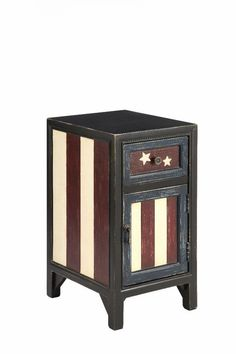 Featuring a weathered finish and American-flag motif, this cabinet adds patriotic style to your parlor or living room. Place it next to your sofa to double a. Furniture Decor, Painted Furniture, Painted Chest, Hand Painted, Flag Painting, Cobalt Glass, Chest Piece, Patriotic Decorations, Painting Cabinets