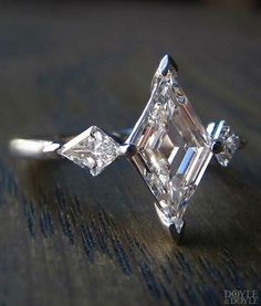 Spectacular Art Deco style lozenge cut diamond engagement ring, from Doyle