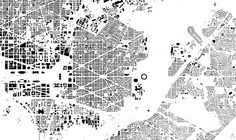 One of the basic tools urban designers use is a figure ground map. It represents the relationship between built and unbuilt space.