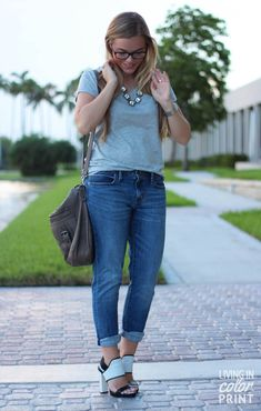 grey tee and jeans ...favorite outfit...love that necklace!!!