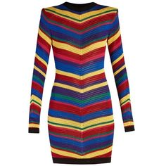 Balmain Chevron-striped knitted mini dress (4.910 RON) ❤ liked on Polyvore featuring dresses, multi, print dress, short dresses, long-sleeve mini dress, balmain and mixed print dress
