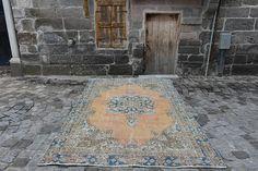 Vintage Handknoted Turkish Rug Free Shipping 5.9 ft x 9.2 ft Handmade Old Vintage Turkey Rug Decorative Floor Rug Area Rug Nomadic Rug