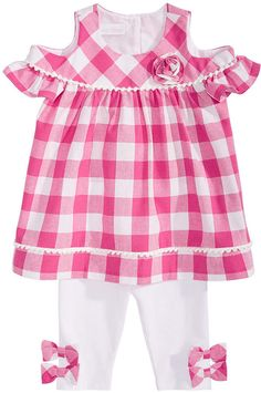 NWT Bonnie Baby Infant Toddler Girls Pink /& Blue Holiday Snowflake 2pc Dress Set