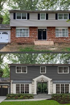"""Painting your home's exterior can definitely feel like a big commitment; however, with the right paint, it's a game changer for curb appeal. We've found 21 painted houses to get you inspired to grab a paint brush! As you will see in these home transformations, the end result can be absolutely spectacular. We created this list for those on the fence to nudge you in the """"pro paint your brick, siding, and stucco"""" direction and to give you some color ideas that will make you glad you did. Home Exterior Makeover, Exterior Remodel, Bungalow, House Makeovers, Ranch Remodel, Exterior Paint Colors For House, New Blue, House Front, House Painting"""