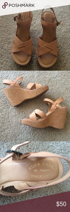 Kork ease nude peach wedge sandal EUC. Only worn twice. Leather nude sandal with a very comfortable footbed and a platform. Authentic Kork ease J. Crew Shoes Wedges