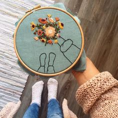 Flower Bucket Hand Embroidery Hoop / Modern Hand Embroidery Wall Art / Hand stitched Gift Wall Decor