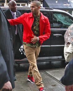 633bb56d816f7f Chris Brown Supreme Olive Hawaii Shirt and Retro AJKO Black and Red Nike Air  Jordan 1′s