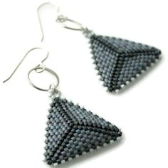 Gale Force Textured Triangle Dangle Earrings with Forged Silver Links