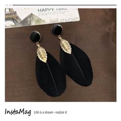 "High Quality Black Jewel Feather Earrings These high quality earrings have a Black Jewel Stone with Gold Tone Leaf and 2 real Black Feathers.  Gorgeous!  Length: 5"" JSB Jewelry Jewelry Earrings"