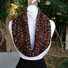 Large Crochet Cowl Small Infinity Scarf Short Wide by MicheleMade