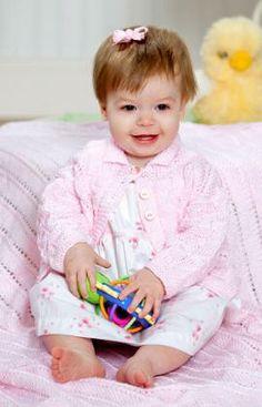 Sweet Eyelet Baby Sweater Knitting Pattern