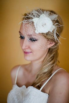 Wedding headpiece Birdcage Veil Blusher with flower lace Ivory french Fascinator Rhinestone. $62.00, via Etsy.