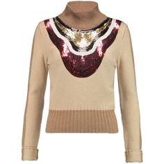 Giambattista Valli Sequined camel-hair sweater (4.550 ARS) ❤ liked on Polyvore featuring tops, sweaters, sand, turtle neck crop top, colorful sweaters, multi colored sweater, crop top and camel hair sweater