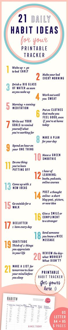 21 ideas for good habits that you can build and track with your printable habit tracker. They'll make you happier, healthier, more organised and bring you closer to your goals. Have more fun bringing your dreams to life! (How To Build A Shed On Concrete) Self Development, Personal Development, Bujo, Evening Meditation, Life Hacks, Mental Training, Good Habits, Better Life, Self Improvement