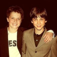 Young Logan Lerman and Josh Hutcherson. Oh My Gosh!!! They both grew up to star in the movies of two of my favorite fandoms!!!!! Let's just ignore the fact that Percy Jackson STUNK!!! Sea of Monsters should be better though :)