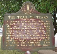 This is a plate that is on a camping ground in which you can actually visit and see a part of the Trail of Tears. It is amazing to think that this is something that is still talked about and you can still see so much history from.