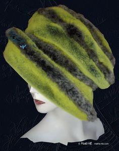 chapeau d'hiver vert flash et taupe couvre-chef par MatheHBcouture