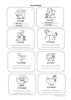 Students can practice writing Yes, it is. Grammar: Present simple tense; Efl Teaching, Teaching Skills, Teaching Jobs, Teaching English, Teaching Ideas, Animal Worksheets, Animal Activities, Writing Practice, Writing Skills