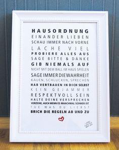 "Druck ""Hausordnung"" // Print by Formart-Zeit-fuer-schoenes via DaWanda.com"