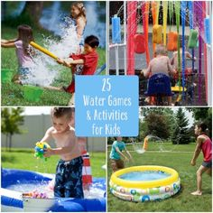 25 Water Games and Activities for Kids. Probably the best compilation of water games I've seen. Water Games, Water Activities, Craft Activities For Kids, Summer Activities, Projects For Kids, Outdoor Activities, Games For Kids, Crafts For Kids, Outdoor Games