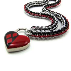 Women's Slave Collar Harley Quinn Inspired Red and Black Heart Lock by BrainofJen on Etsy https://www.etsy.com/listing/241235268/womens-slave-collar-harley-quinn