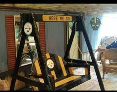 Turning Your Basement into the Ultimate Man Cave Can Be Fun - Man Cave Home Bar Steelers Helmet, Pitsburgh Steelers, Here We Go Steelers, Pittsburgh Steelers Football, Steelers Stuff, Football Team, Dallas Cowboys, Football Season, Bench Swing