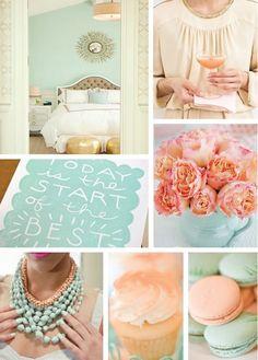Peach and mint color palette