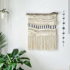 Large Woven Tapestry Wall Hanging, Macramé Wall Hanging, Mid Century Modern…