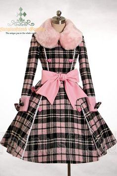 Lolita/Hime pink black plaid coat with pink fur colloar and large pink bow sash and cuffs Lolita Fashion, Retro Fashion, Vintage Fashion, Womens Fashion, Plaid Fashion, Gothic Fashion, Vintage Dresses, Vintage Outfits, Estilo Lolita