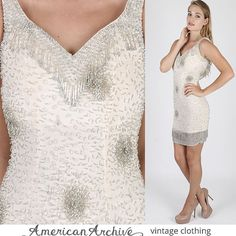 Vintage 80s Floral Beaded Dress Cream Silk Deco Wedding Cocktail Party Draped Mini S sequin dress fringe dress beaded dress party dress