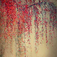 Christiane Steinicke, Purple Rain, 2012 / 2014 © www.lumas.com/ #LumasAutumn,  Birch,  birch tree,  birch trees,  Concept,  concepts,  Digital,  digital art,  Fall,  Foliage,  Leaf,  Leaves,  Nature,  Photography,  red,  Tree,  Trees