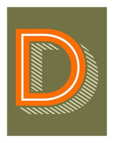 The Letter D, Original Art Print, Alphabet, Typography, Orange, Green