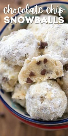 Snowball Cookies are the BEST Christmas Cookie! I made these snowball cookies with chocolate chips and no nuts! They're an easy cookie recipe everyone can enjoy.