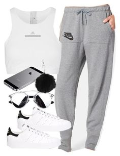 A fashion look from February 2016 featuring NIKE, racerback sports bra and white shoes. Browse and shop related looks. Cute Comfy Outfits, Lazy Outfits, Sporty Outfits, College Outfits, Outfits For Teens, Cool Outfits, Fashion Outfits, Everyday Outfits, Divas