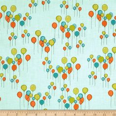 Just for Fun Balloons Aqua from @fabricdotcom  Designed by Marisa and Creative Thursday for Andover Fabrics, this cotton print fabric is perfect for quilting, apparel, crafts, and home decor items. Colors include aqua, teal, orange, and lime.