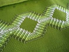 Love the green fabric. Ribbon Embroidery, Cross Stitch Embroidery, Embroidery Patterns, Swedish Weaving Patterns, Swedish Embroidery, Cat Cross Stitches, Monks Cloth, Weaving Designs, Drawn Thread