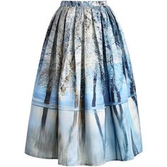 Chicwish Icy Forest Pleated Midi Skirt ($48) ❤ liked on Polyvore