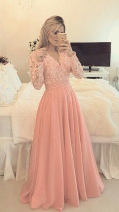 Full Sleeve Prom Dress,Sexy Prom Dresses,Long Evening Dress,Appliques