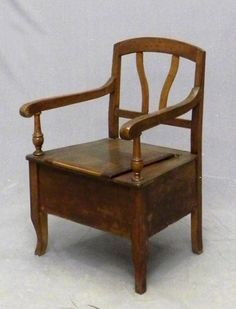 Nice Carved Walnut Commode Chair, 19th C., The Back With Vertical Splats, The