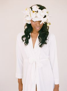 White Bridal, Bride and bridesmaid robes from Plum Pretty Sugar in a new wedding and boudoir collection, Lilli Tru. Bridal Beauty, Wedding Beauty, Bridal Hair, Boho Wedding, Plum Pretty Sugar, All White Party, Bridesmaid Robes, Bridesmaids, Floral Headpiece