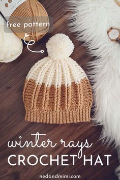 Add a little ray of sunshine to the winter days with the Winter Rays crochet hat! The hat features a faux ribbing stitch pattern and the pattern is available in Toddler, Child and Adult sizes. Ribbed Crochet, Crochet Adult Hat, Crochet Beanie Pattern, Crochet Baby, Free Crochet, Crochet Patterns, Hat Patterns, Crochet Dolls, Crochet Toddler Hat