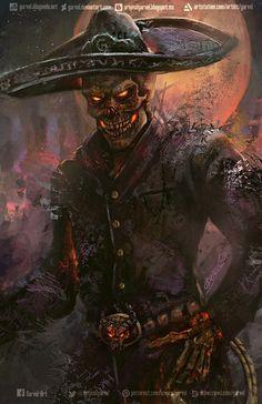 Charro Negro, Garvel Hever on ArtStation at… Fantasy Kunst, Dark Fantasy Art, Dark Art, Arte Lowrider, Western Saloon, Totenkopf Tattoos, Skull Artwork, Gothic Artwork, Skeleton Art